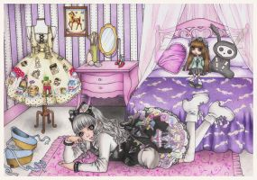 First commission- a Lolita in her room by BonBonPoupee