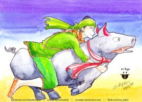 Bayinnaung riding on pig by sw-eden