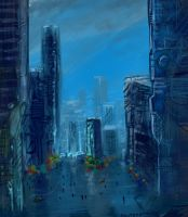Rainy City -Spe3dpainting by Aerozopher