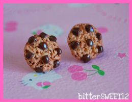 Chunky Chip Cookie Studs by bitterSWEETones