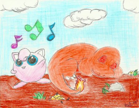 jigglypuff + charmander :sing: by pirionsflame
