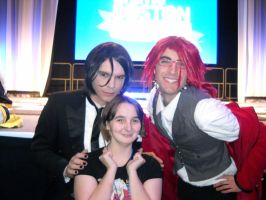 I got a pic with Sebastian and Grell. by Lunarie334