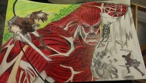 Eren vs Colossal Titan by TheEye15