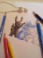 Umbreon and Vaporeon [work in progress] by atta9