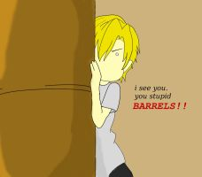 pewdie hides from evil barrels by wolfcry1996