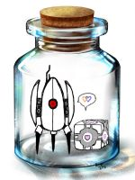 Turret and Companion Cube by KittensAreTakingOver