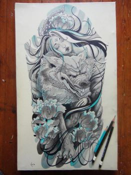 Tattoo design Princess of Wolves -  sleeve by Xenija88