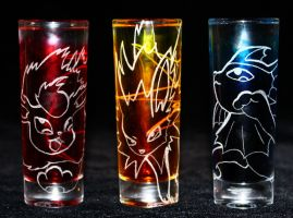 Flareon, Jolteon + Vaporeon shot glasses (On Sale) by PokeEtch
