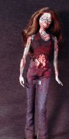 Zombie Barbie with Display Stand Anatomically 3 by Undead-Art