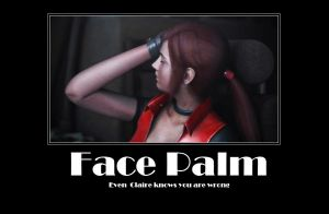 Claire Redfield Facepalm by Aletheiia90