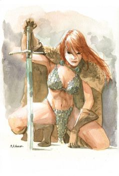 Red Sonja Water Colours by MahmudAsrar