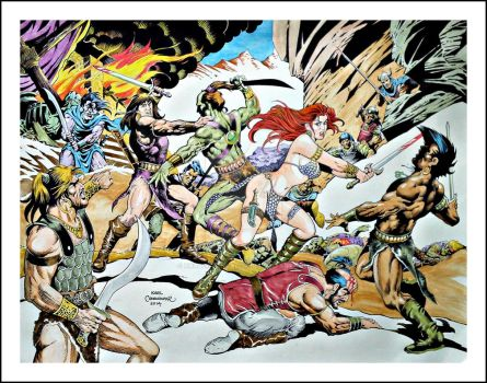 RED SONJA and CONAN the barbarian - 18 x 24 by karlcomendador
