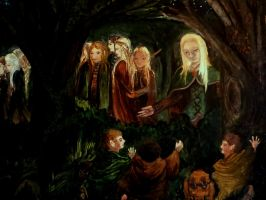 Gildor Inglorion greets Frodo, Sam and Pippin by Rearda