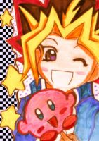 Yami Yugi and Kirby by KawaiiDarkAngel