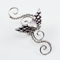 Swirly Winged Heart Ear Cuff by Gailavira