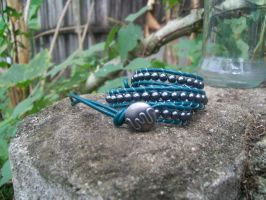 Slytherin colors double wrap bracelet by BlueberryCrazy