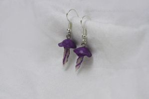 Mini Purple Jellyfish Earrings by Laughing-Sky