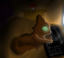 Cat on the Computer by Tuxn