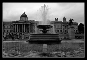 Trafalgar Square Fountain by MishaART