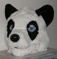 Panda suit head by Bladespark