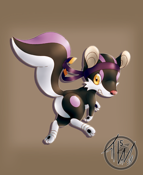 Skunkick Concept Drawing by HalcyonMoufette