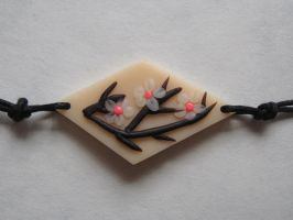 Cherry Blossom polymer clay choker pendant by WindySunset