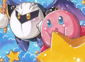 ACEO Meta Knight and Kirby by LuckyAngelausMexx