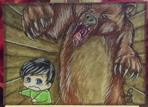 B is for Basil assaulted by the Bears - ACEO by ParadoxSketchbook