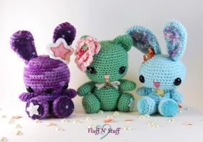 Spring Bunnies and Kitty by SailorMiniMuffin