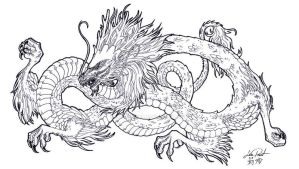 Chinese Dragon Lineart by harpyja