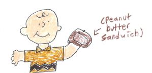 Charlie Brown has a peanut butter sandwich by dth1971
