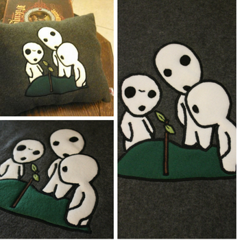 Curious Kodama Pillow by SillinessofSewing