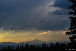 Cascade Volcanoes from Eleven Mile Overlook by AFL