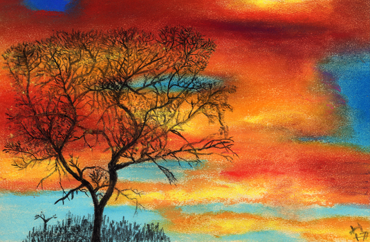 Tree and Sky - soft pastels and charcoal by jerryhat