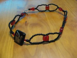 Red and Black beaded necklace by RoxyHeart111