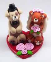 Dog and Tiger Wedding Cake topper by HeartshapedCreations