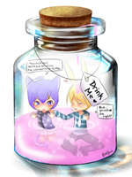 Kitty and Bunny in Bottle by PlushYumi