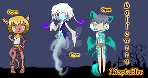 Halloween Set Adoptables (open) by Kiraka16