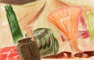 Still Life - Painted Bottles by Razur