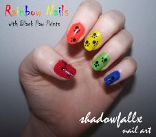 Rainbow Paw Print Nails by shadowfallx
