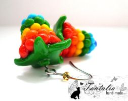 Earrings 'Rainbow raspberries' by Tantalia