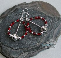 Twisted Red Earrings by PurlyZig