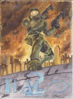 master chief watercolor by wolfang012