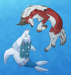 Water Dog and Rock Dog by Arcticwaters