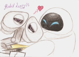 Wall-E n Eve Snuggle by RabidLeroy