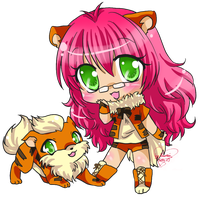 PC 23 -Amber and Growlithe- by Desiree-U