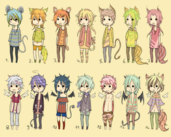 Adoptables - Angel/Demon/Kemonomimi Set CLOSED by Chi-Adopts-Yo