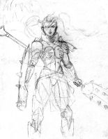 Warrior Woman Sketch by ZhaxRa