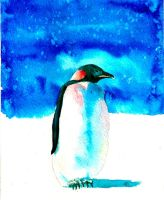 Penguin in Watercolor by Sunhorde