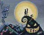 Nightmare Before Christmas Painting by Kitteh-the-Kat